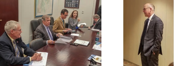 Left image: Oregon co-op leaders with Sen. Jeff Merkley. Right image: Greg Walden