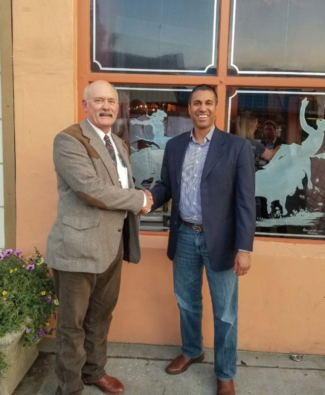 FCC Chairman Ajit Pai shaking hands with Columbia Basin Electric Cooperative's Tommy Wolff
