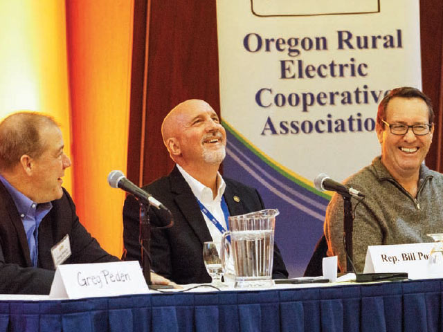 Legislative panelists Greg Peden, Rep. Bill Post and Rep. Paul Holvey share a light moment at the Oregon Rural Electric Cooperative Association's annual meeting. Photos by Mike Teegarden