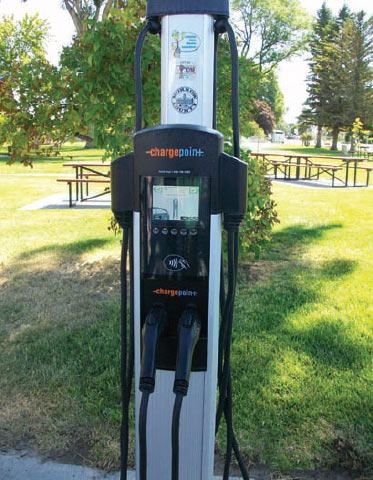 The charging station in Ione is one of four recently installed in Columbia Basin Electric Cooperative territory.