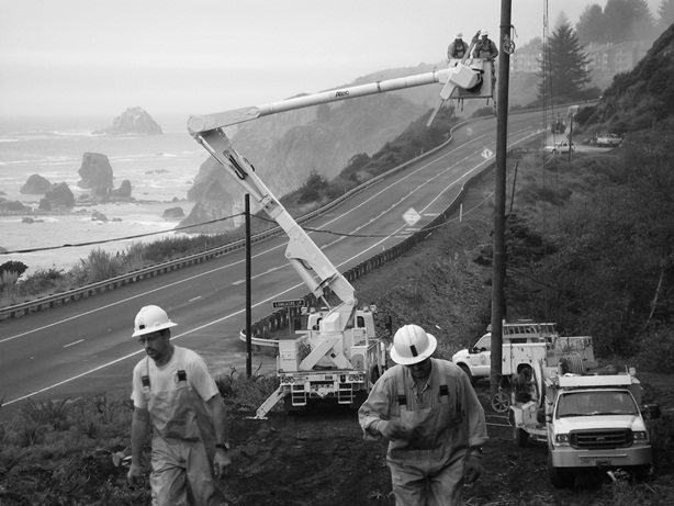 Lineman working on Oregon Coast