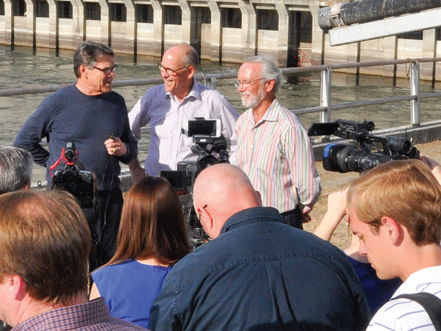 Back row from left, Secretary of Energy Rick Perry, Rep. Greg Walden and Rep. Dan Newhouse hold a press conference after Perry's tour of McNary Dam. Photos courtesy of U.S. Army Corps of Engineers Public Affairs