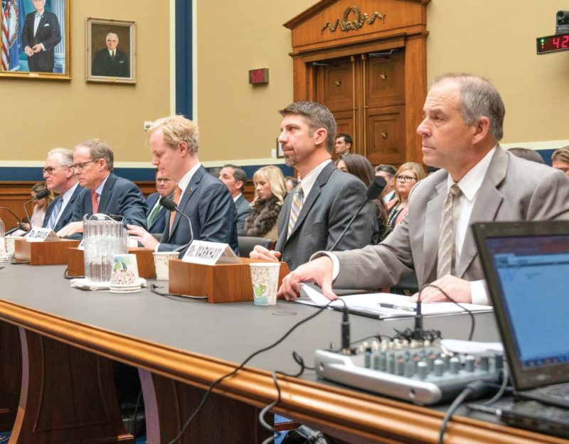 Dave Markham, right, was the only electric co-op representative on a panel that included members of academia and the CEO of Pacific Gas & Electric. Photo courtesy of The National Rural Electric Cooperative Association